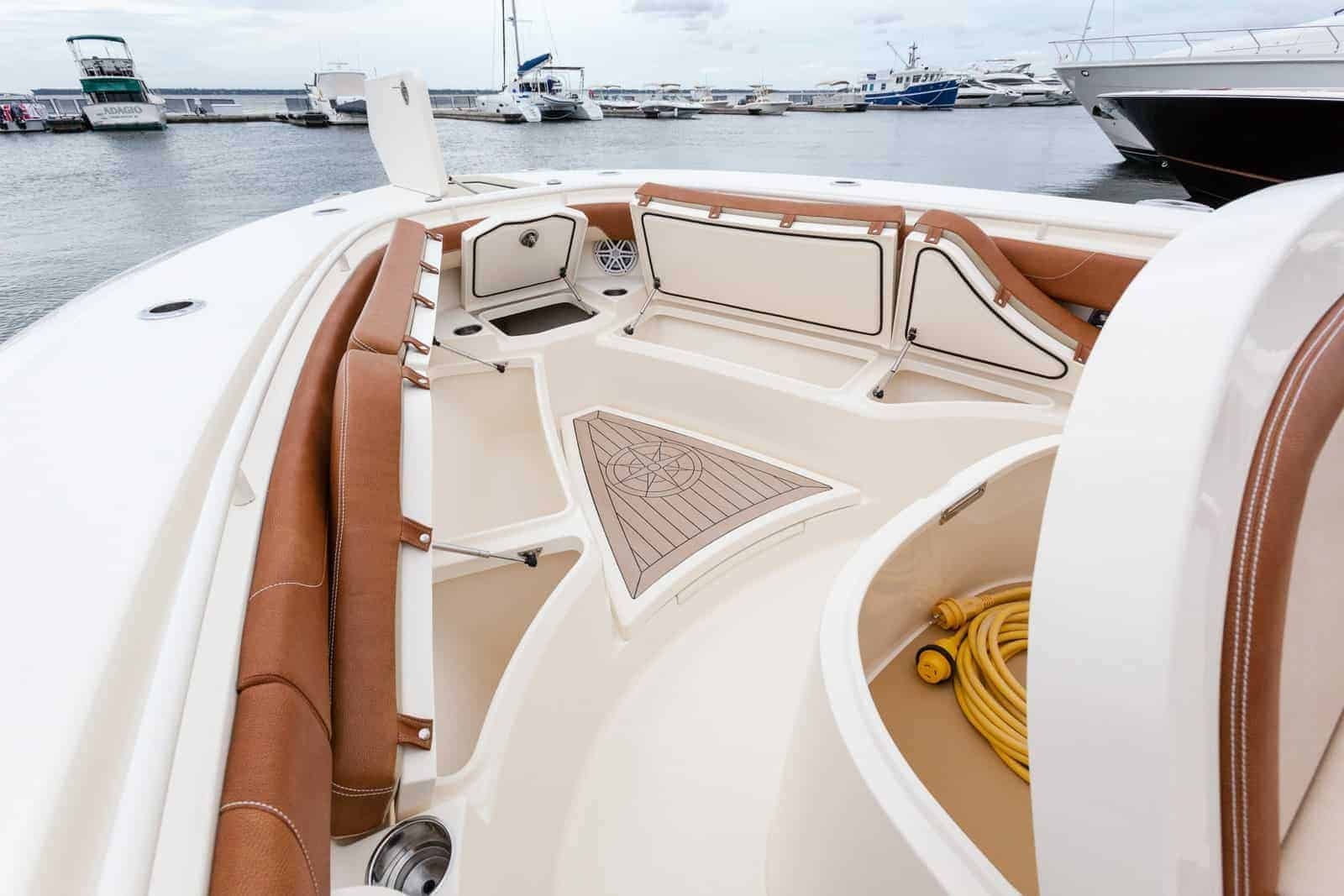 355LXF bow storage compartments open