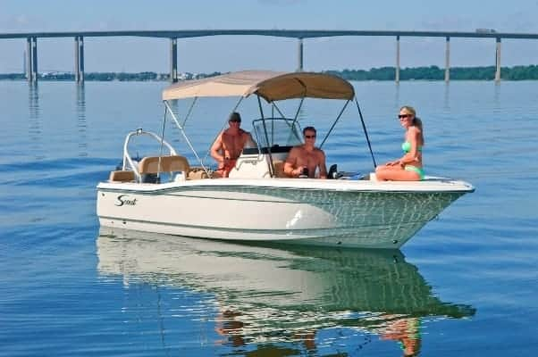 195SF with bimini top extended