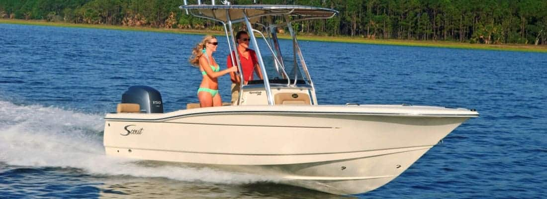 195SF with girl standing at helm