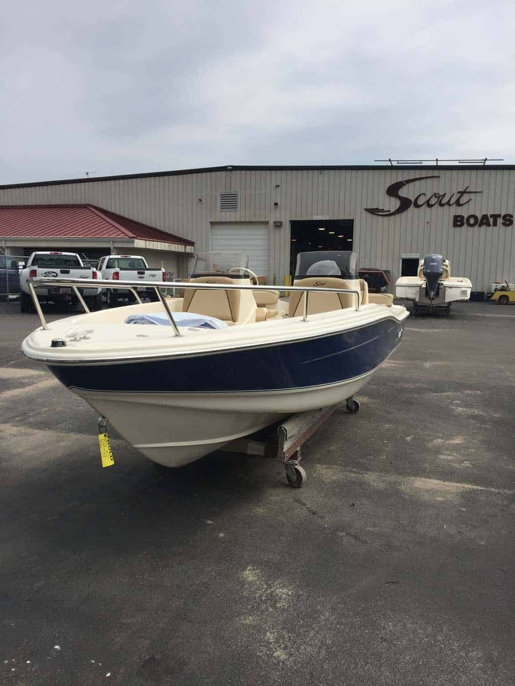 175SD azure blue hull with bow rail
