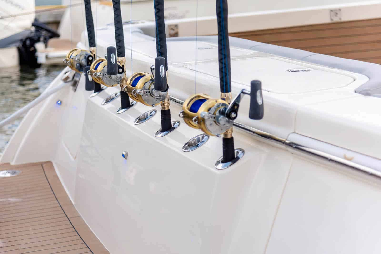 530LXF rods in transom rod holders