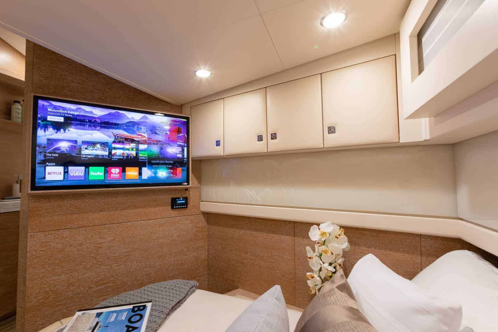 530LXF TV and cabinets in master stateroom