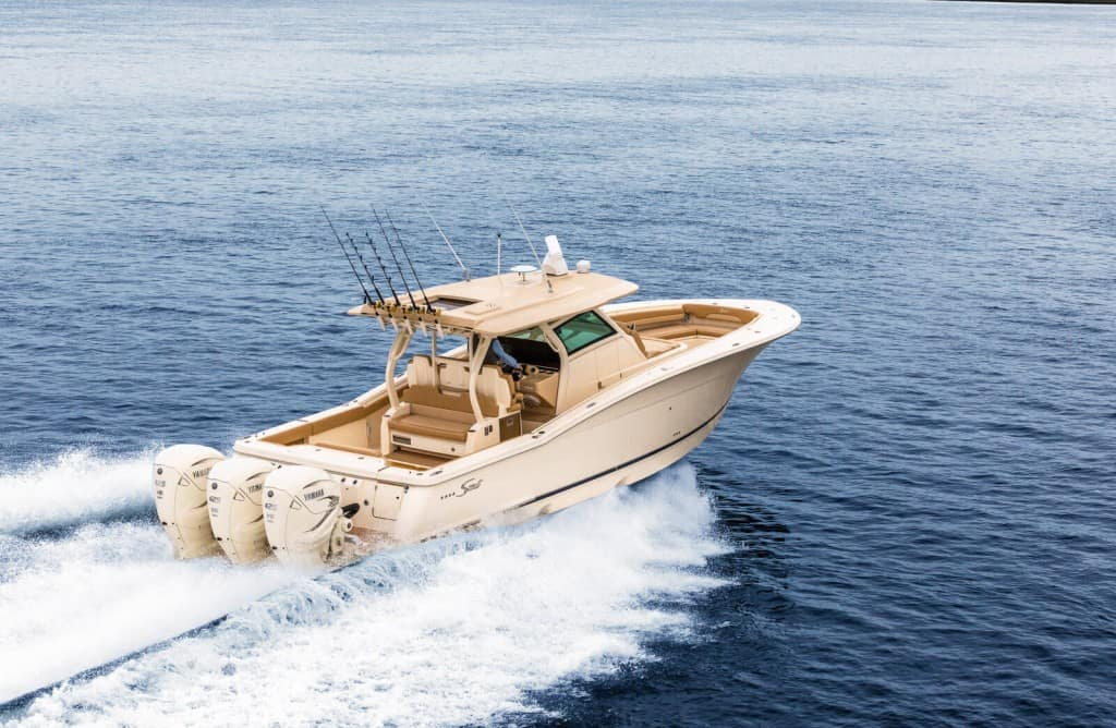 380LXF running Scout white hull